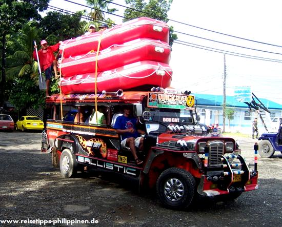 Jeepney with rafting boats